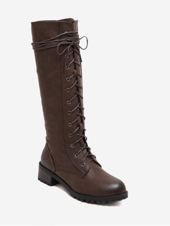 shop Lace Up Side Zip Mid-calf Boots - BROWN 36