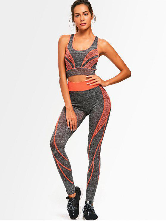 ladies Two Tone Heathered Racerback Gym Suit - ORANGE ONE SIZE