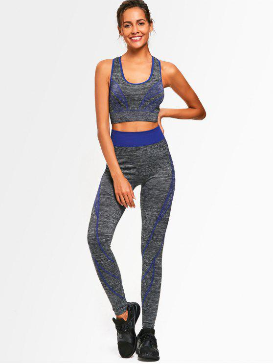 outfit Two Tone Heathered Racerback Gym Suit - BLUE ONE SIZE