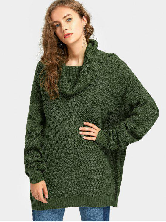 latest Tunic Cowl Neck Oversized Sweater - GREEN ONE SIZE