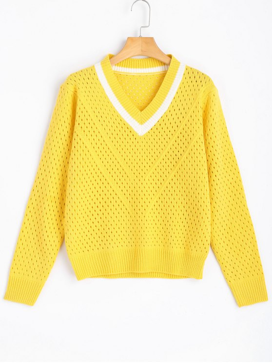 Sheer Contrasting V Neck Pullover Sweater YELLOW: Sweaters ONE ...