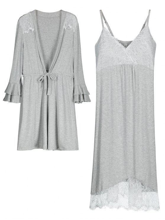 new Loungewear Cami Dress with Kimono - GRAY M