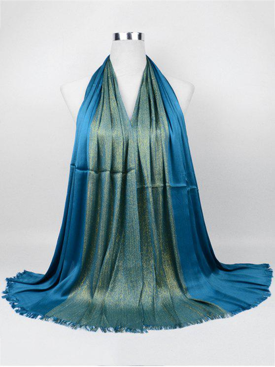 fancy Soft Spun Gold Tone Long Scarf - PEACOCK BLUE