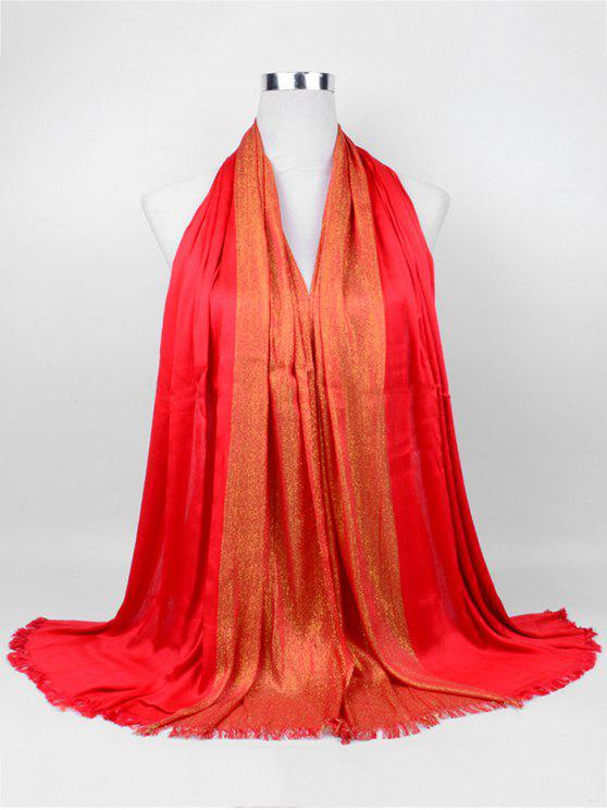 womens Soft Spun Gold Tone Long Scarf - RED