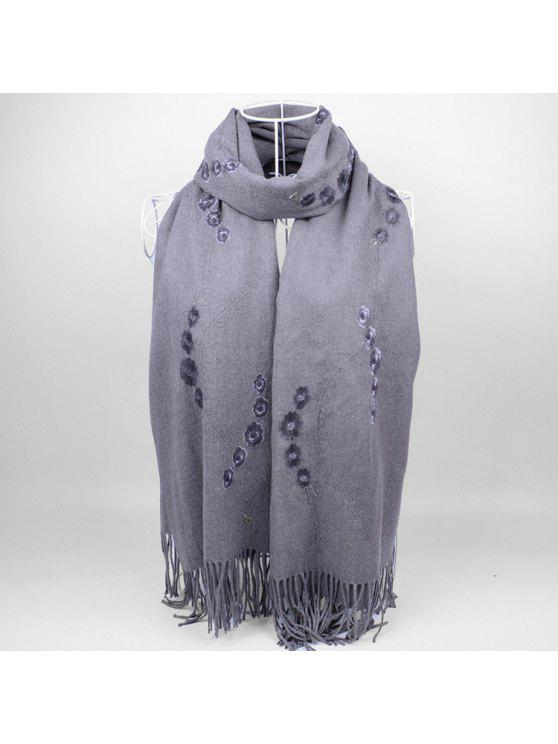 shop Floral Embroidery Fringed Long Scarf - GRAY