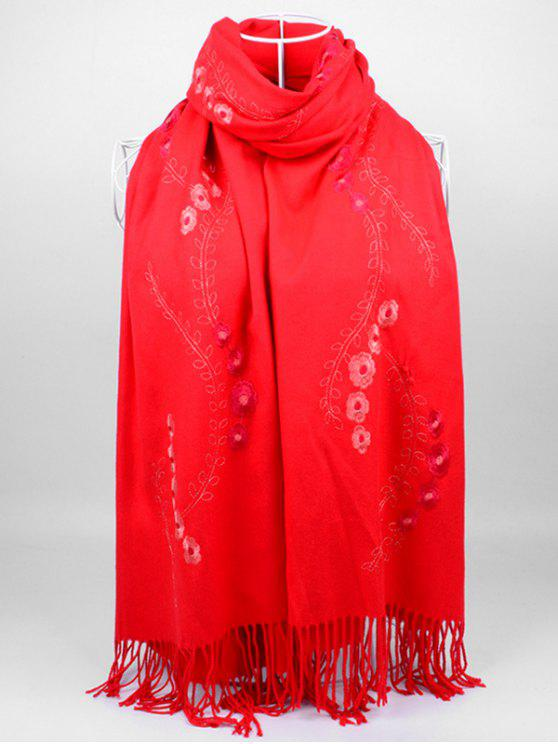 fashion Floral Embroidery Fringed Long Scarf - BRIGHT RED