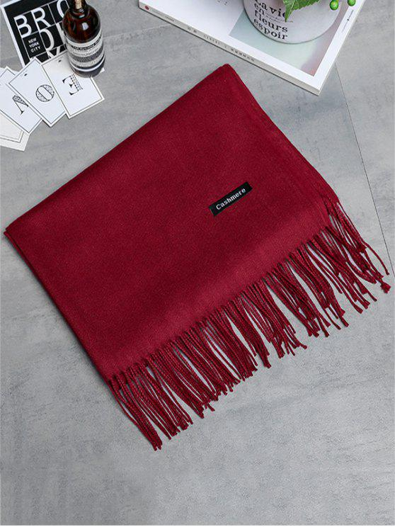 womens Vintage Faux Cashmere Fringed Long Scarf - WINE RED