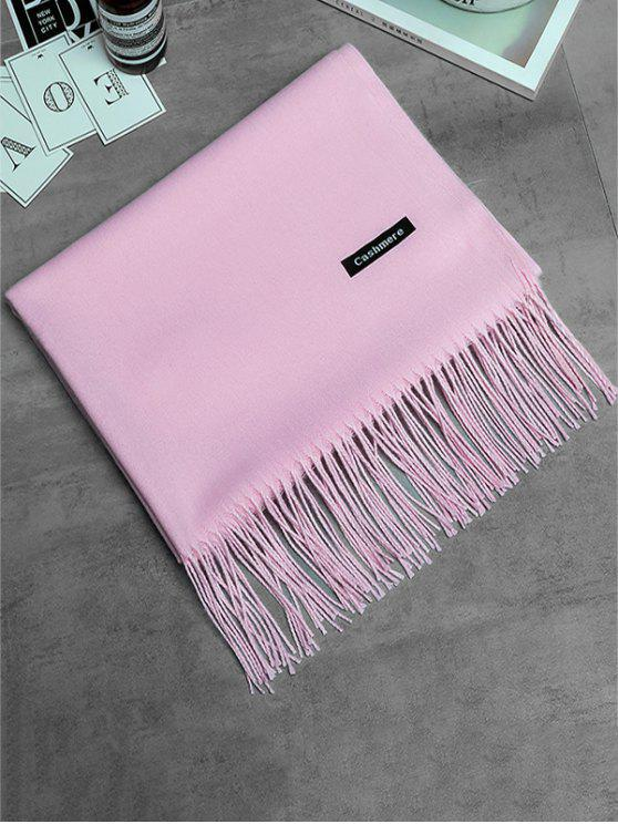 women Vintage Faux Cashmere Fringed Long Scarf - PINK