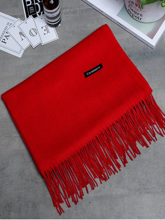 lady Vintage Faux Cashmere Fringed Long Scarf - BRIGHT RED