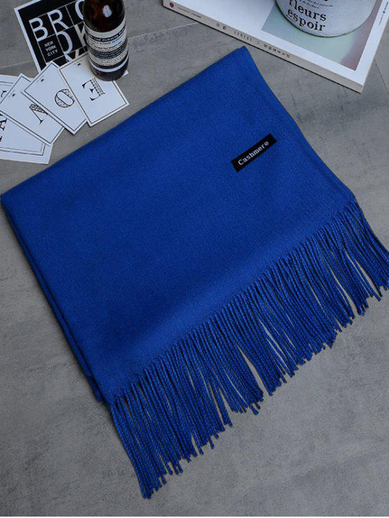 best Vintage Faux Cashmere Fringed Long Scarf - ROYAL