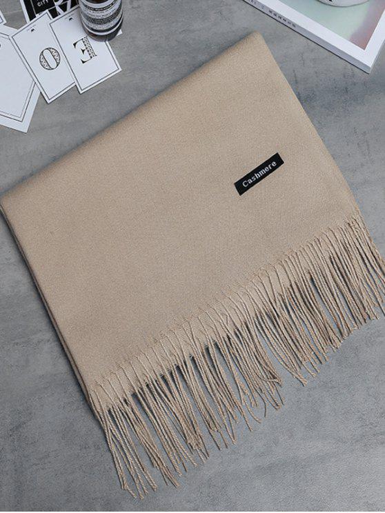 Bufanda larga con flecos de cachemira de imitación vintage - Caqui