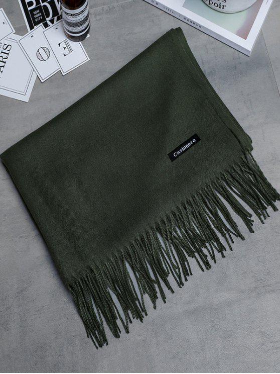 Sciarpa lunga foderata del cashmere dell'annata - Verde Dell'esercito