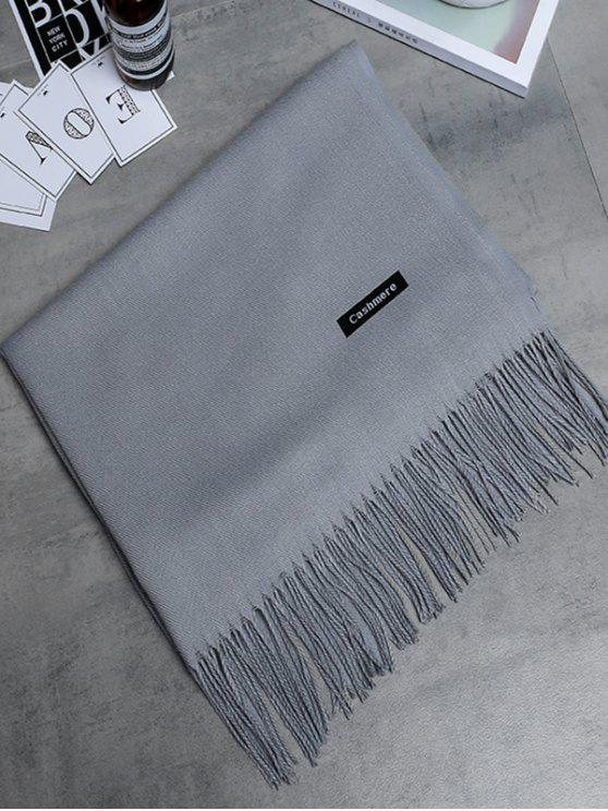 hot Vintage Faux Cashmere Fringed Long Scarf - PEARL LIGHT GREY