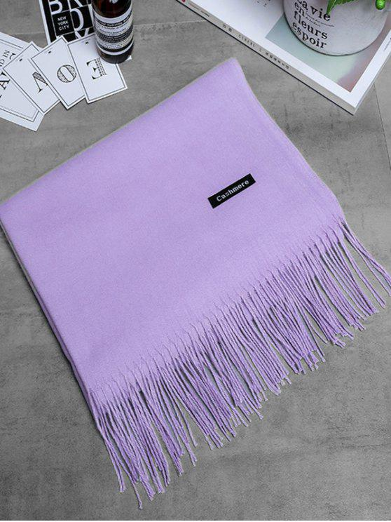 Écharpe longue à franges en cachemire vintage - Violet Clair