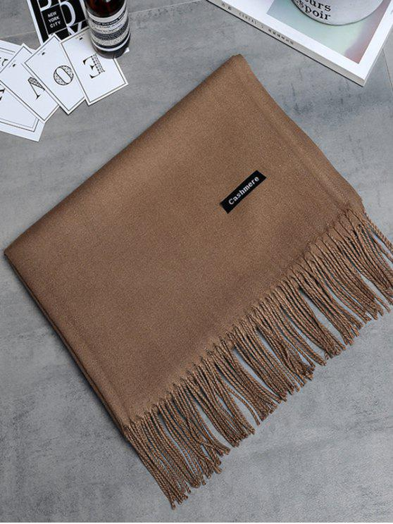 Écharpe longue à franges en cachemire vintage - brun foncé