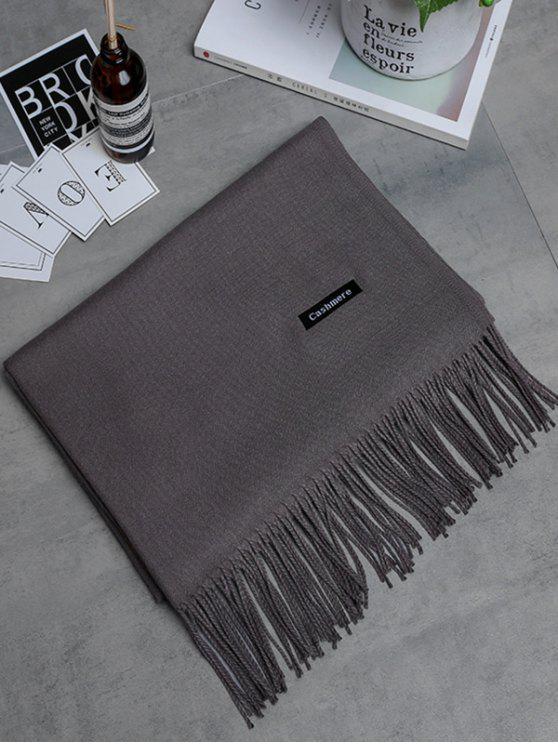 Bufanda larga con flecos de cachemira de imitación vintage - Caqui Oscuro