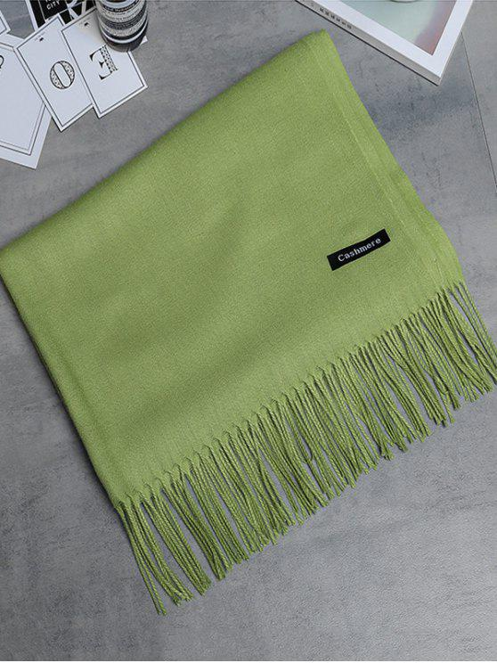 chic Vintage Faux Cashmere Fringed Long Scarf - GREEN