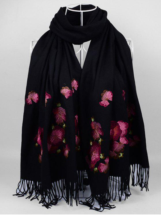 unique Floral Embroidery Ethinc Style Fringed Scarf - BLACK