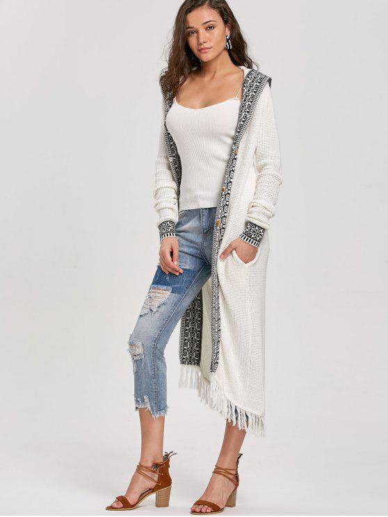Hooded Fringe Jacquard Trimmed Longline Cardigan WHITE: Sweaters ...