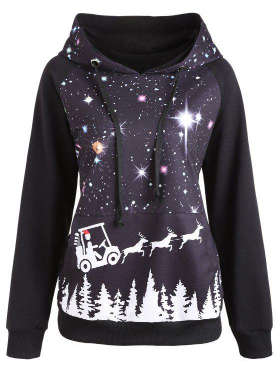 womens Raglan Sleeve Starry Sky Print Christmas Hoodie - BLACK 2XL
