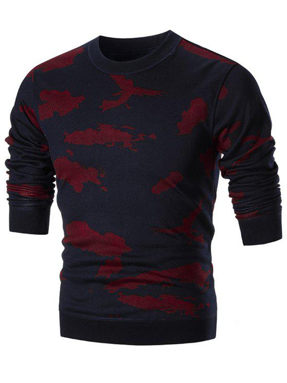 sale Crew Neck Camo Sweater - RED 3XL
