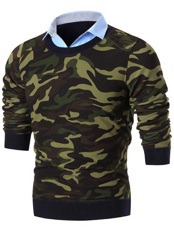fashion Fake Two Piece Knit Camo Sweater - GREEN 2XL