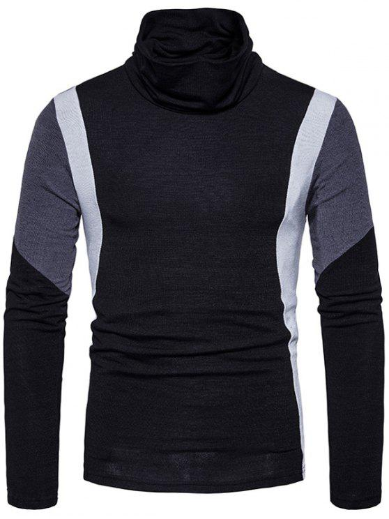ladies Turtle Neck Slim Fit Color Block Panel Knitted Sweater - BLACK S