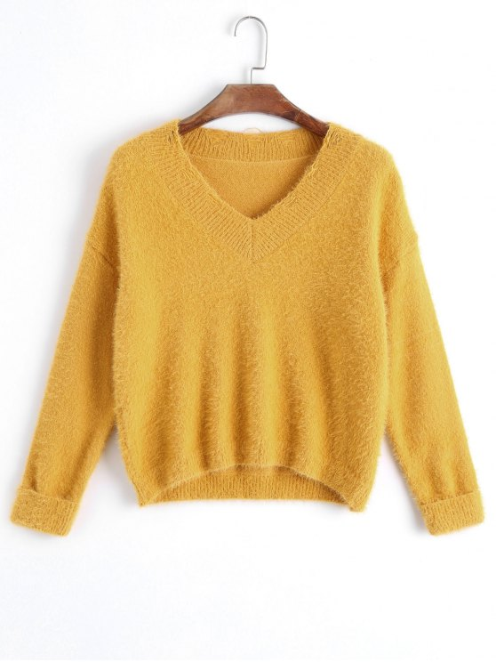 buy V Neck Destroyed Pullover Sweater - YELLOW ONE SIZE