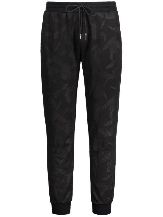 Feather Print Drawstring Jogger Pants - Preto 2XL