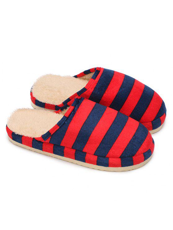 ff45ab95628 2018 Faux Fur Padded Warm Stripe Slipper In BRIGHT RED SIZE(40-41 ...