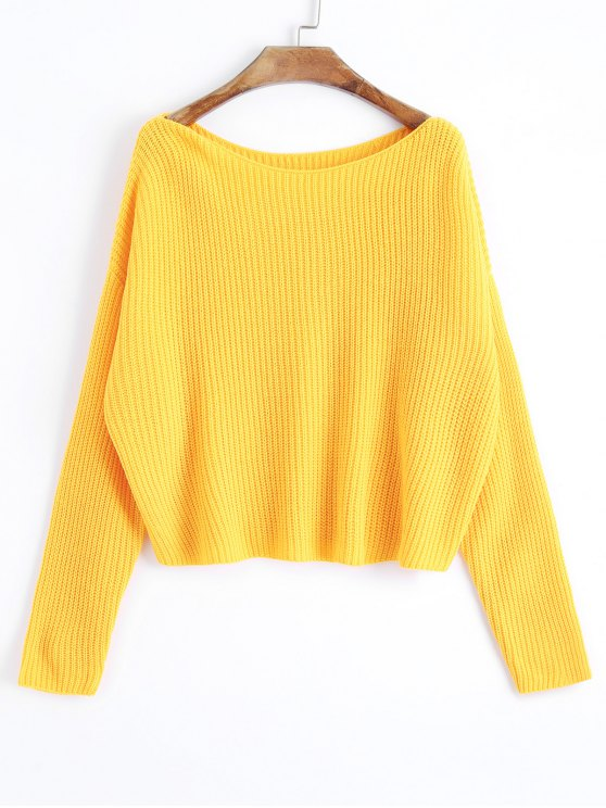 Oversized One Shoulder Pullover Sweater YELLOW: Sweaters ONE SIZE ...