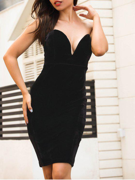8fb27502b1a3 2019 Strapless Velvet Bodycon Dress In BLACK S