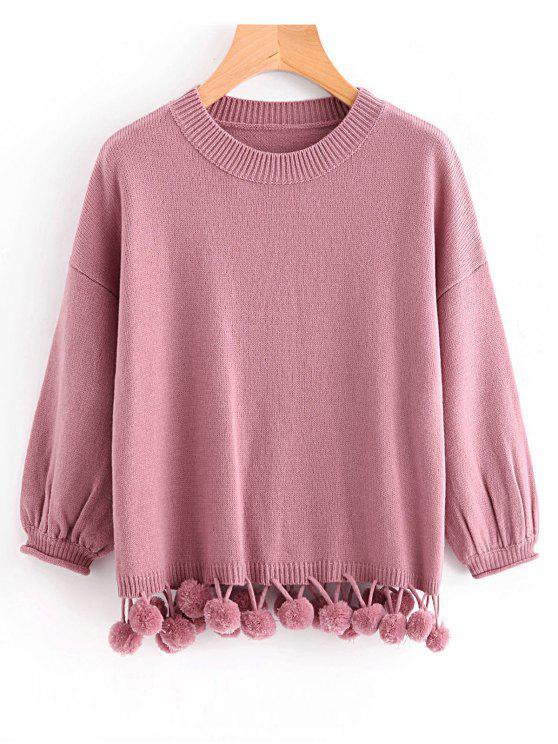 shops Lantern Sleeve Pompoms Pullover Sweater - PINKISH PURPLE ONE SIZE