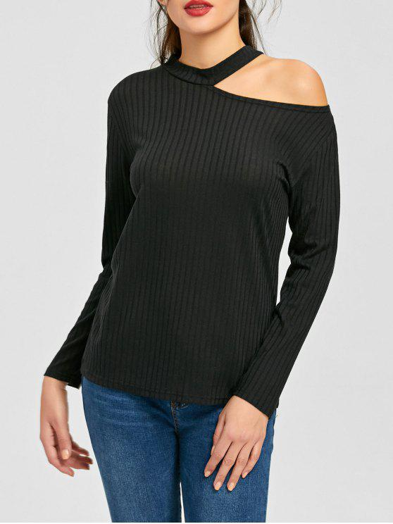 new Cold Shoulder Ribbed Choker Sweater - BLACK M