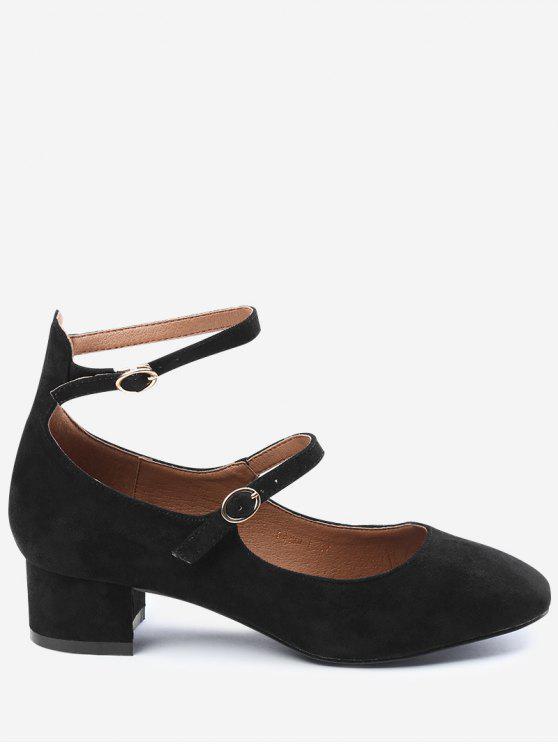 حذاء مشدود بحزامين - أسود 38