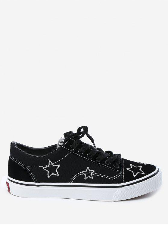 women's Embroidery Canvas Stars Skate Shoes - BLACK 39