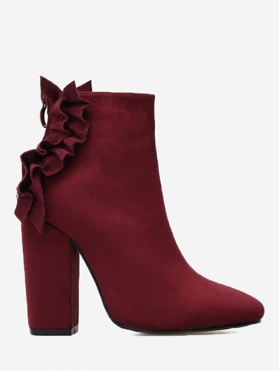 women's Ruffles Chunky Heel Curve Boots - WINE RED 35/5.5