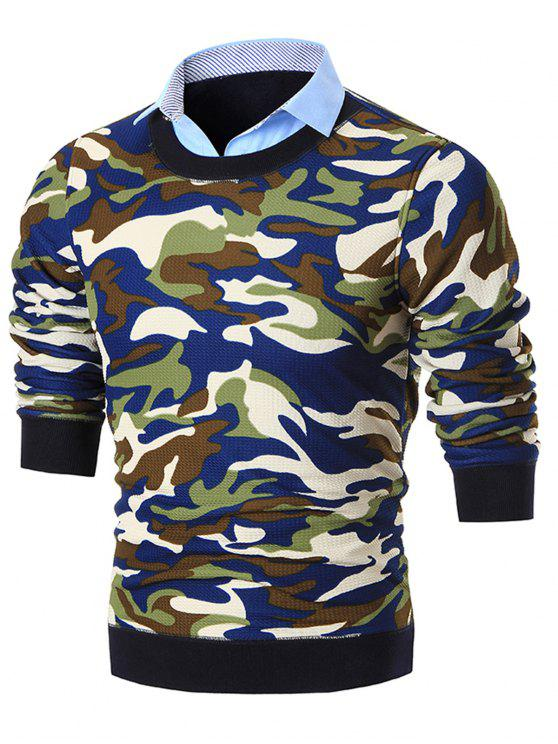 unique Fake Two Piece Knit Camo Sweater - BLUE 3XL
