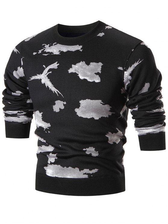 Rundhalsausschnitt Camo Sweater - Weiß 3XL