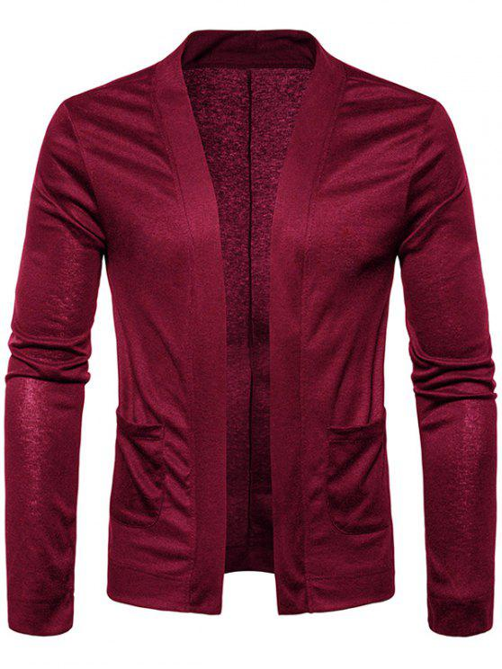 best Open Front Knitted Drape Cardigan - WINE RED M