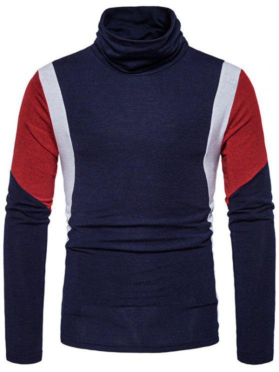sale Turtle Neck Slim Fit Color Block Panel Knitted Sweater - CADETBLUE L