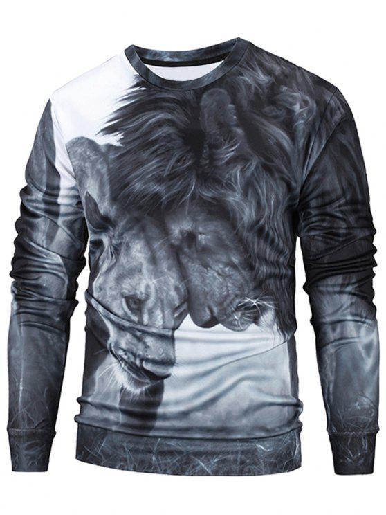 ladies Lions 3D Print Pullover Sweatshirt Men Clothes - GRAY XL