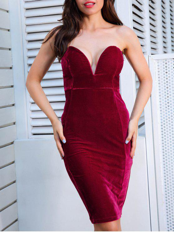 2019 Strapless Velvet Bodycon Dress In RED M  997c71e90