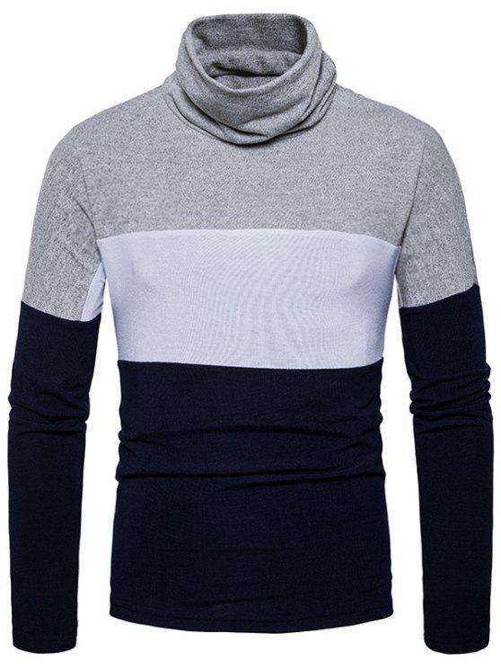 Maglione lavorato a maglia a blocchi di colore Slim fit di tartaruga - Cadetblue XL
