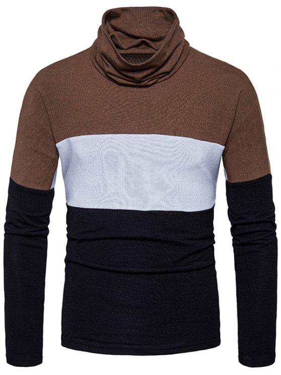Maglione lavorato a maglia a blocchi di colore Slim fit di tartaruga - Nero XL