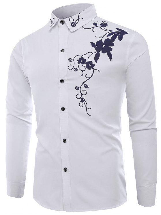 قميص كم طويل تنورة طوق الزهور طباعة - أبيض 2XL
