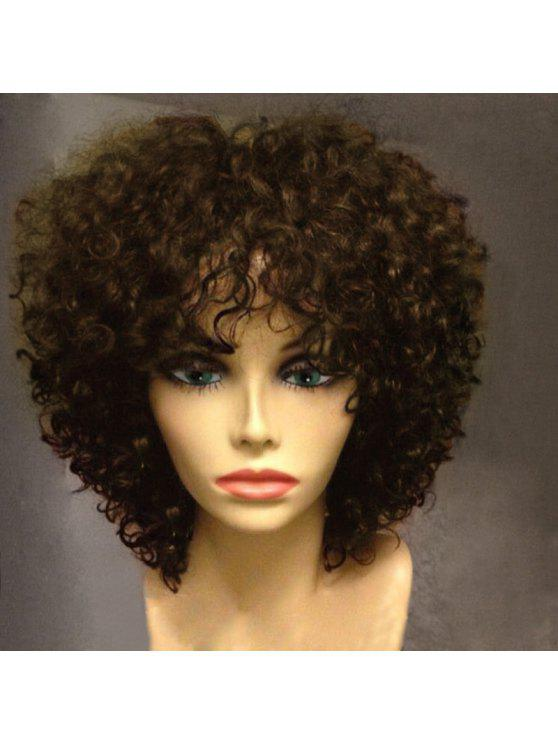 Short Side Bang Shaggy Afro Curly Synthetic Wig - Castanha