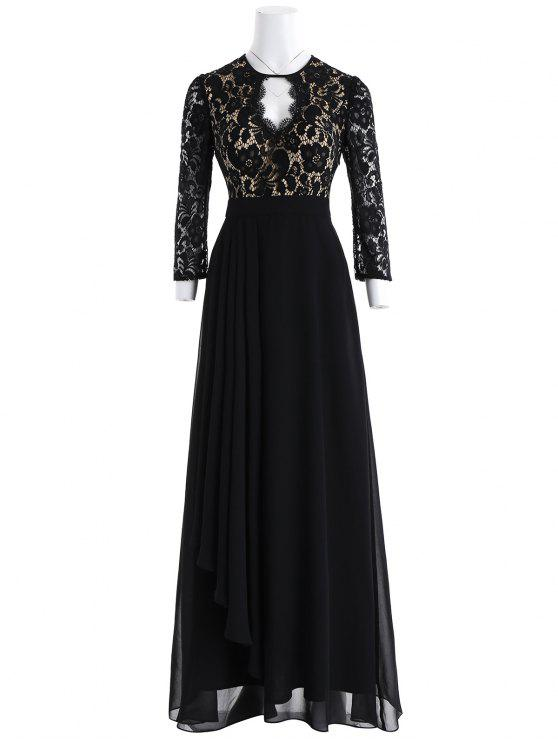 ثقب المفتاح الأزهار الدانتيل مساء اللباس الرسمي - أسود XL