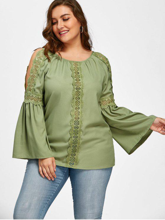outfit Plus Size Lace Trim Slit Sleeve Blouse - PEA GREEN 2XL