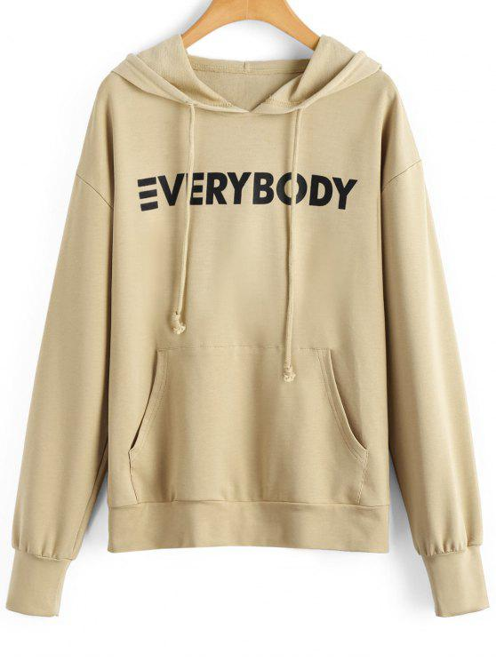 outfits Contrasting Letter Hoodie with Pocket - APRICOT S